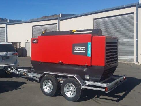 air-compressor trailer tandem axle rear view