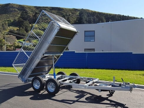 domestic tip trailer front tipped view