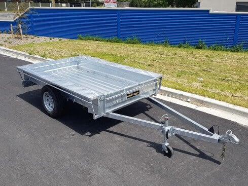 single axle domestic trailer from front corner