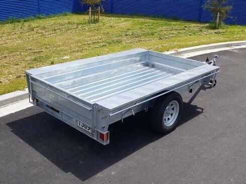 single axle domestic trailer from rear corner