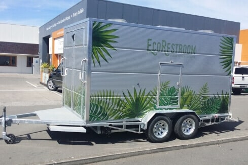 custom trailer for mobile bathroom solution