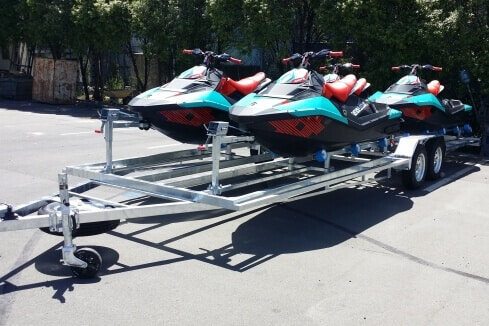 custom trailer to carry four jet-skis