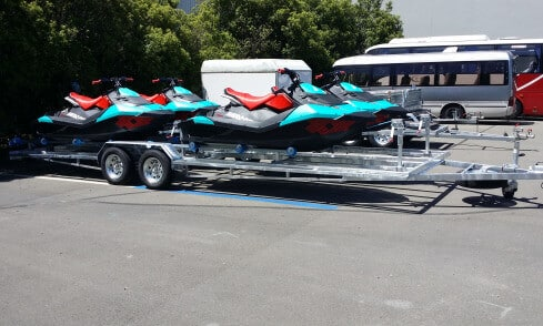 Quad custom jet-ski trailer side view