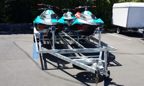 Quad custom jet-ski trailer front view