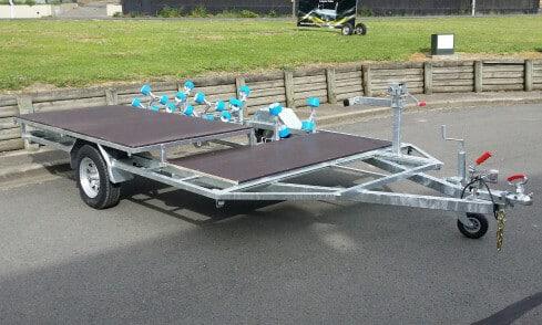 Custom jet-ski trailer with quadbike rack side view