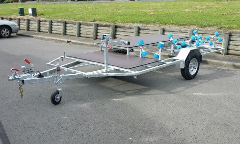 Custom jet-ski trailer with quadbike rack