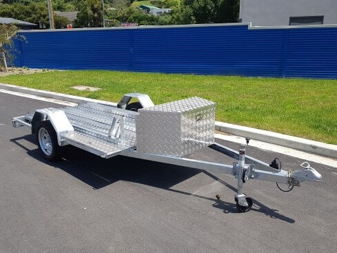 single axle motorbike trailer with box