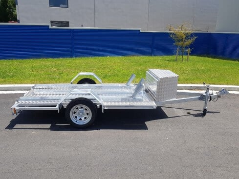 single axle motorbike trailer with box side view